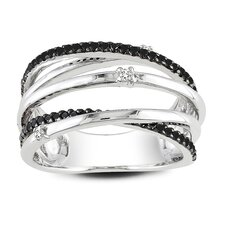 <strong>Amour</strong> Round Cut Black and White Diamond Ring