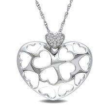 <strong>Amour</strong> Sterling Silver Round Cut Diamond Heart Pendant