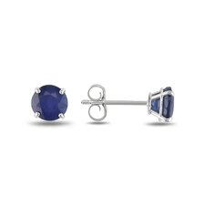 <strong>Amour</strong> 14K Round Cut Sapphire Stud Earrings