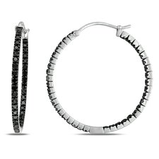 <strong>Amour</strong> Round Cut Diamond Hoop Earrings
