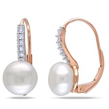 10K Round Cut Diamond and Pearl Dangle Earrings