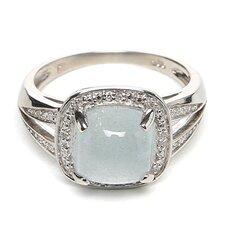Sterling Silver Cushion Milky Gemstone Cut Halo Ring
