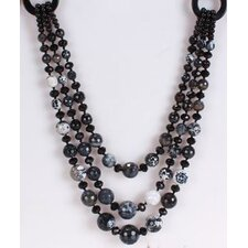 Round Mixed Black-Grey Agate and Black Crystal Beads Necklace with Triple-Strand