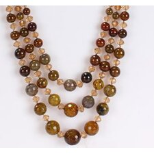 Round Mixed Olive Green-Brown Agate and Light Champagne Necklace with Triple-Strand