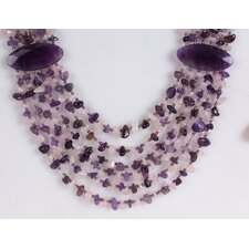 Agate, Amethyst and Rose Quartz Chips Necklace in Purple