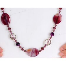 Mixed Purple Agate and Crystal Beads Endless Necklace