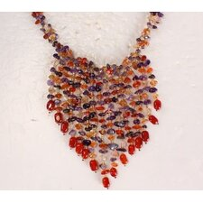 Carnelian and Amethyst Necklace with Multi-Strand Hanging