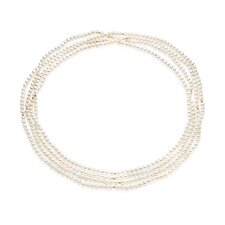 Off-Round Cultured Pearl Necklace with Gold Beads