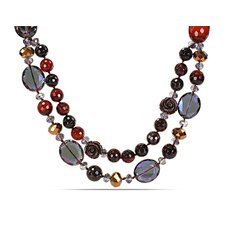 Double-Strand Necklace in Mixed Red-Brown