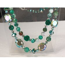 Double-Strand Necklace in Green and White