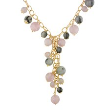 Pink Plated Silver Rose and Black Rutilated Quartz Necklace