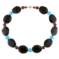 Beads Necklace with Silver Ball Clasp