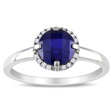 White Gold Created Blue Sapphire Fashion Ring