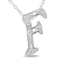 Sterling Silver White Diamonds Initial Pendant