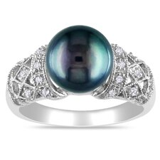 Sterling Silver Diamond and Black Freshwater Cultured Pearl Fashion Ring