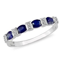 White Gold Diamonds and Sapphire  Fashion Ring