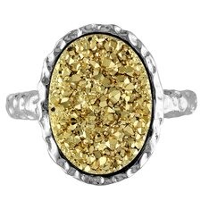 Sterling Silver Oval Golden Color Druzy Gemstone Ring