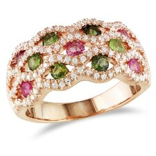 <strong>Amour</strong> Silver Pink Rhodium Plated Pink and Green Tourmaline and Cubic Zirconium Fashion Ring