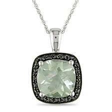 Rope Chain Round Cut Five Eighths of a Carat Green Amethyst and Tenth of a Carat Diamonds Pendant