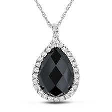 <strong>Amour</strong> Rope Chain Round Cut, Checkerboard Cut Onyx Topaz Pear Pendant