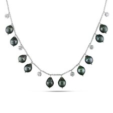 Sterling Silver Cable-chain Round-cut Cubic Zirconia Gemstone and Baroque-shaped Tahitian Cultured Pearl Necklace