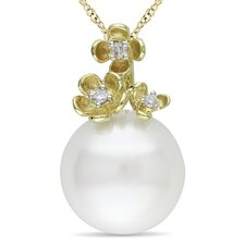 Rope-chain Round-cut Diamond and Freshwater Cultured Pearl Fashion Pendant