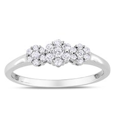 Sterling Sliver Round Cut Diamond  Ring