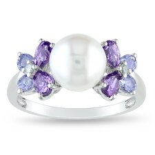 Sterling Silver Round Cut Tanzanite and Cultured Pearl Multi Stone Ring