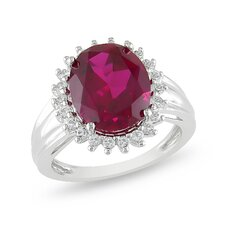 Sterling Silver Oval Cut Ruby Halo Ring