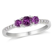 White Gold Round Cut Alexandrite Multi Stone Ring