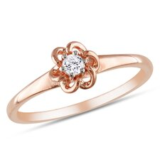 Pink Gold Round Cut Diamond Ring