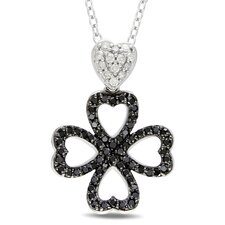 <strong>Amour</strong> Sterling Silver Round Cut Black and White Diamond Fashion Pendant