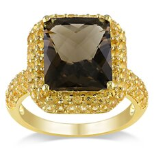 Yellow Silver Cushion Cut Smoky Quartz Halo Ring
