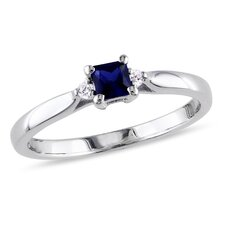 Sterling Silver Round Cut Sapphire Fashion Single Stone Ring