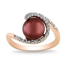 Pink Silver Round Cut Cultured Pearl Halo Ring