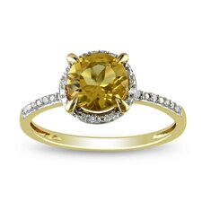Yellow Gold Round Cut Citrine Fashion Halo Ring