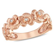 Pink Silver Round Cut White Diamond Floral Ring