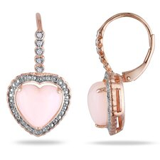 Heart Cab Diamonds and Pink Opal Hoop Earrings