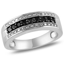 <strong>Amour</strong> Sterling Silver Round Cut Diamond Stacking Ring