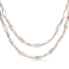 Rectangular and Potato Cultured Pearl Necklace