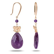 <strong>Amour</strong> Pear Amethyst Dangle Earrings