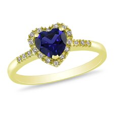 Yellow Silver Heart Cut Sapphire Multi Stone Ring