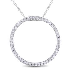 10K White Gold Circle Diamond Pendant