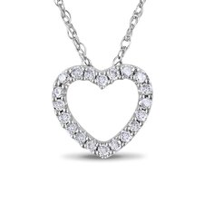 <strong>Amour</strong> 10K White Gold Heart Diamond Pendant