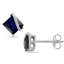 Princess Cut Blue Sapphire Stud Earrings
