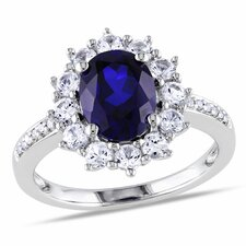 Sterling Silver Oval Cut Diamond and Sapphire Ring