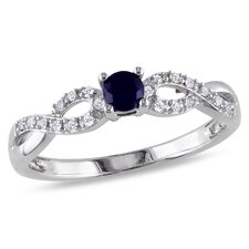 <strong>Amour</strong> Sterling Silver Round Cut Diamond and Sapphire Ring