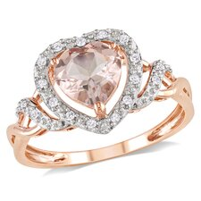 10k Pink Gold Heart Cut Diamond Fashion Ring