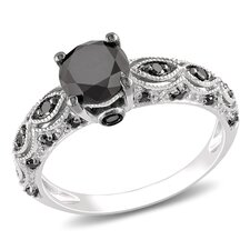 <strong>Amour</strong> 10k White Gold Round Cut Diamond TW Fashion Ring