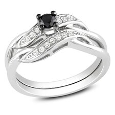 <strong>Amour</strong> Sterling Silver Round Cut Diamond TW Bridal Set